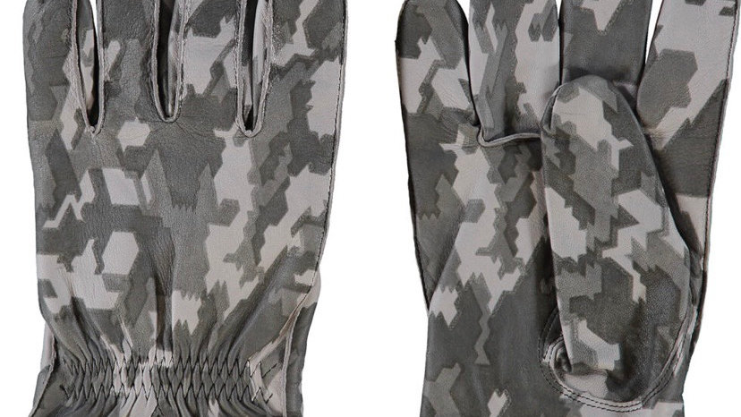 PITTARDS ENGLAND Grey Leather Camo Gloves