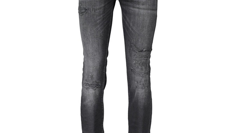 JACK JONES Black Distressed Slim Fit Denim Jeans