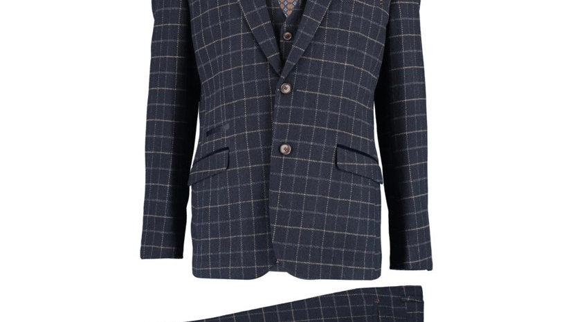 CAVANI Navy Check Tweed Three Piece Suit