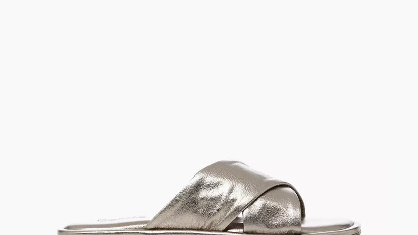 BERTIE - Padded Crossover Strap Flat Mule Sandals