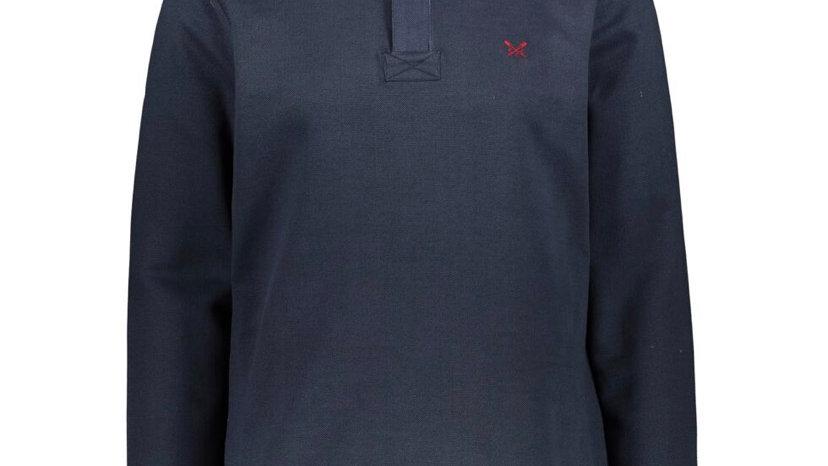 CREW CLOTHING CO. Navy Striped Zip Neck Sweatshirt
