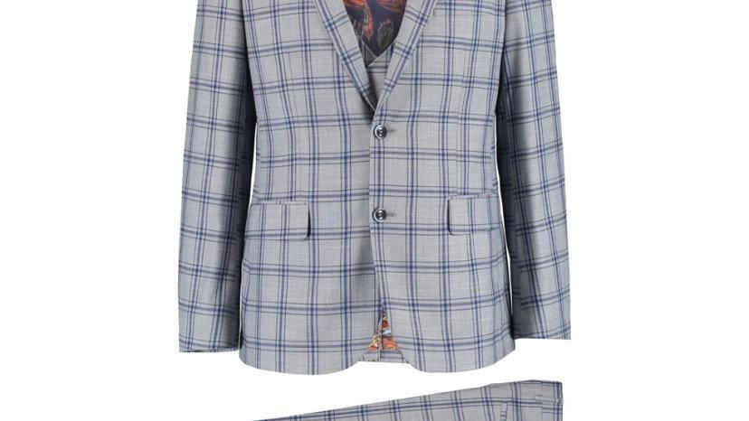 HARRY BROWN Grey & Navy Check Three Piece Suit