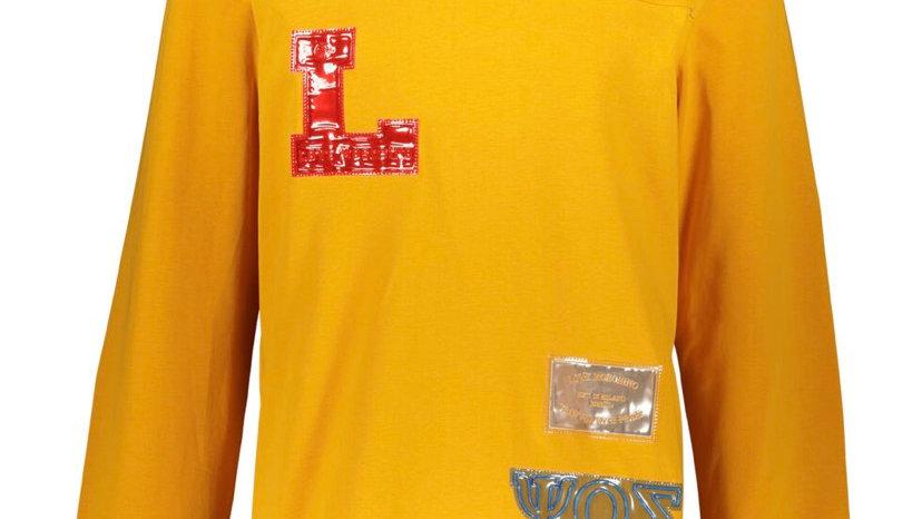 LOVE MOSCHINO Yellow College Motif V Neck Jersey T Shirt