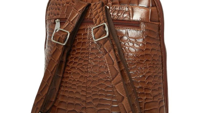 ASHWOOD Tan Leather Reptile Effect Backpack