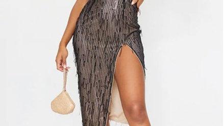 Tassel Sequin High Neck Split Leg Midi Dress
