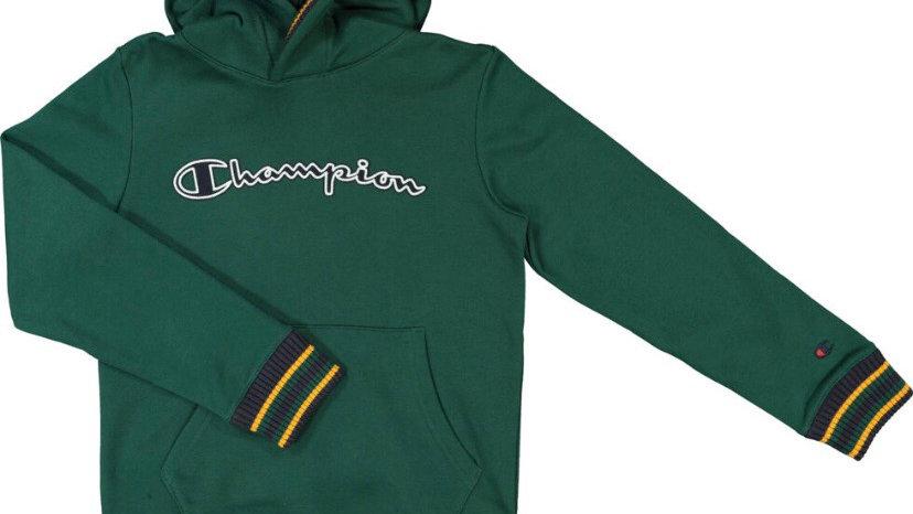 CHAMPION Green Logo Varsity Hoodie
