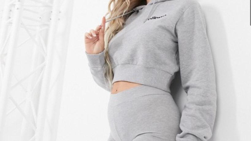 Ellesse cropped hoodie & leggings set in grey
