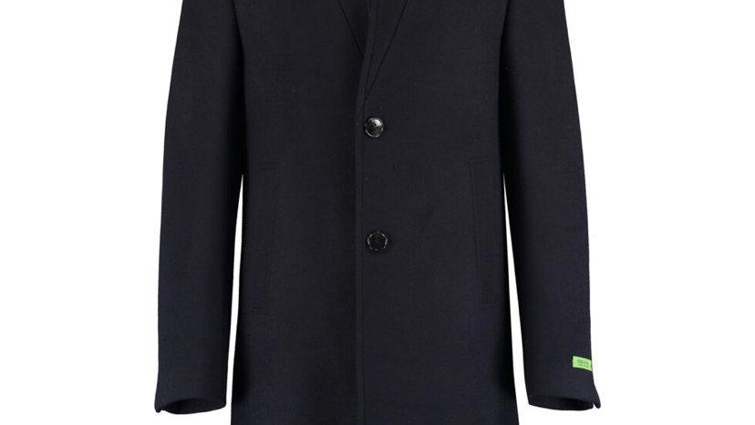 GIANNI FERAUD Navy Blue Straight Collar Overcoat