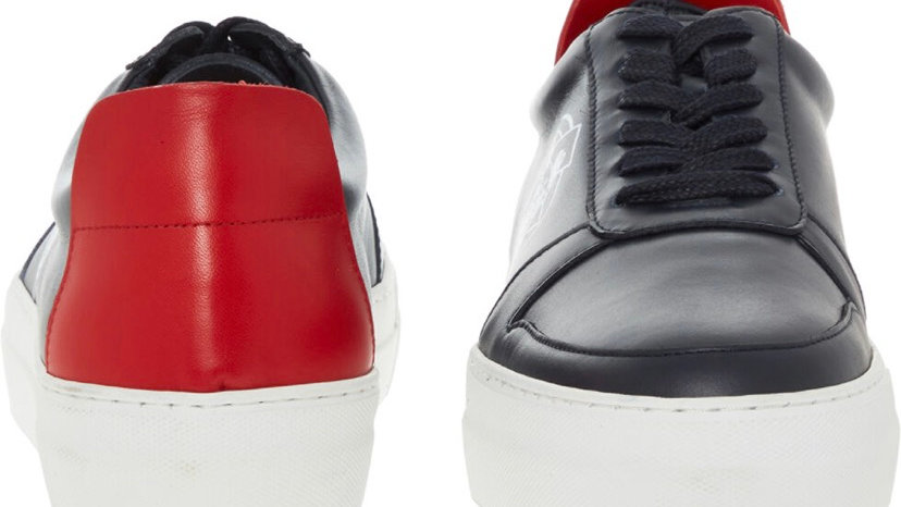EMPORIO ARMANI Navy & Red Leather Bulldog Trainers
