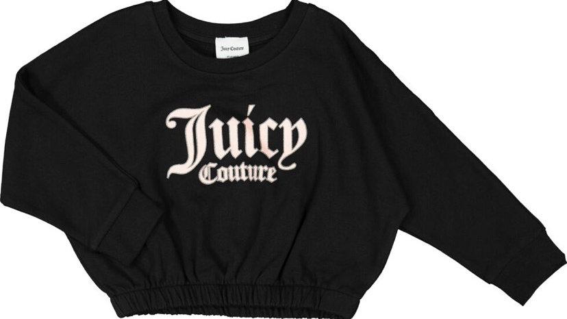 JUICY COUTURE Black Glitter Trim Logo Print Sweatshirt