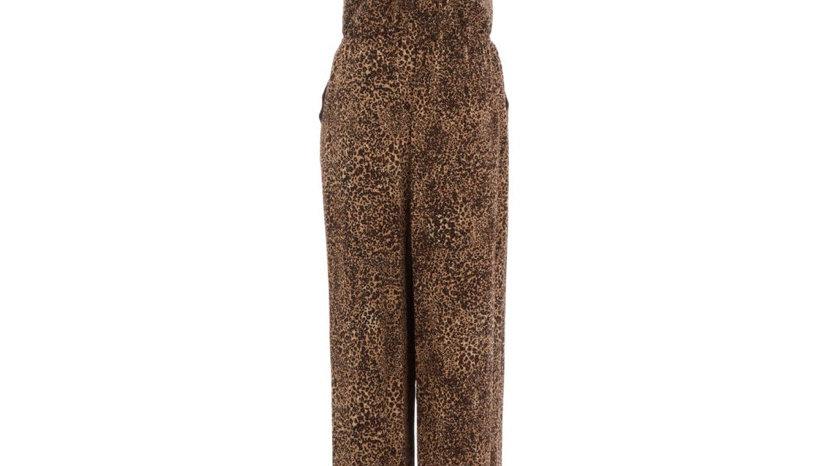 1 STATE Brown Leopard Print Lace Maxi Dress