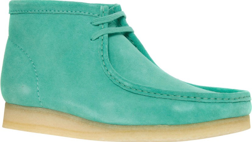 CLARKS ORIGINALS WALLABEE Green Derby Suede Boots
