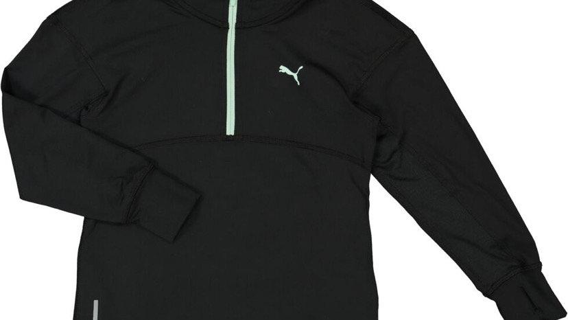 PUMA Black Logo Zip Neck Sports Jumper