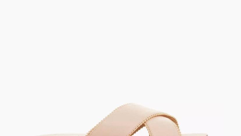 HEAD OVER HEELS - Nude Beaded Cross Strap Slider