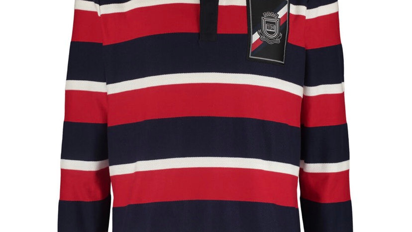 TOMMY HILFIGER Red & Navy Rugby Shirt