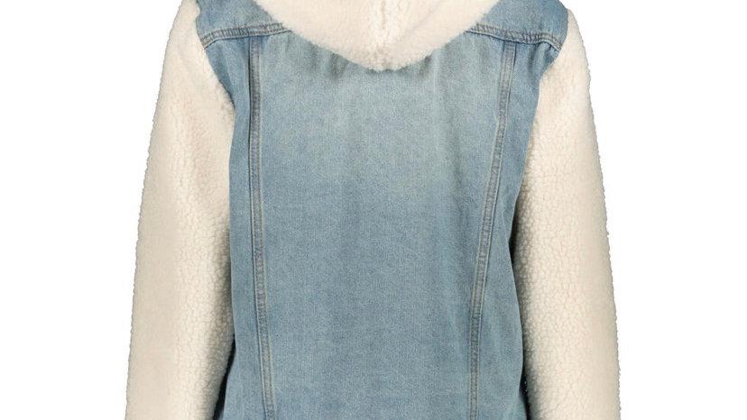 ASHLEY VINTAGE CHARM Blue Denim & Fleece Jacket