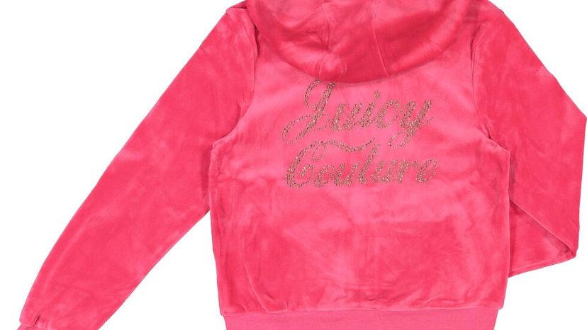 JUICY COUTURE Pink Velour Zip Up Hoodie