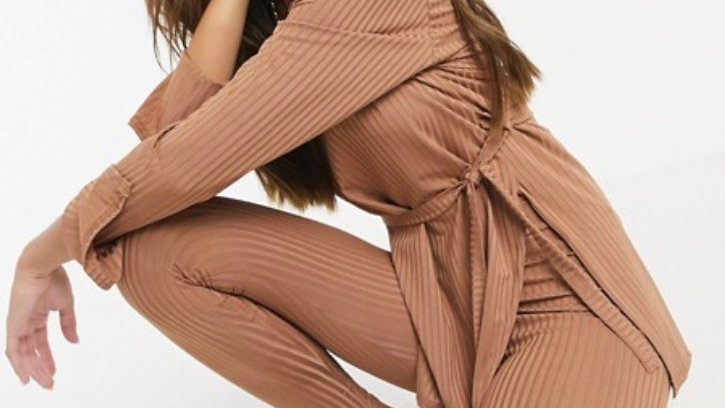 Femme Luxe ribbed plunge front top with belt and legging set in camel