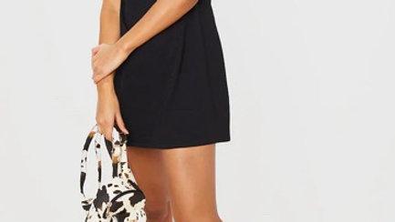 Black Shoulder Padded Sleeveless T Shirt Dress