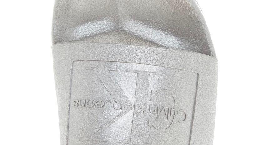 CALVIN KLEIN Silver Logo Sliders