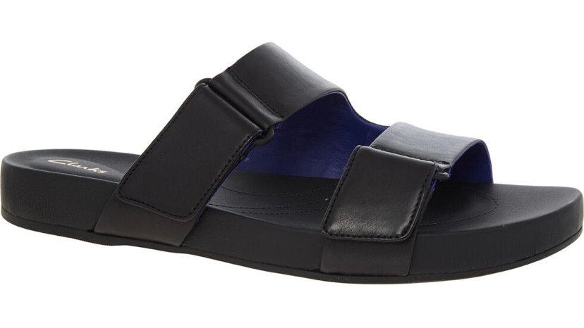 CLARKS ORIGINALS Black Leather Slides