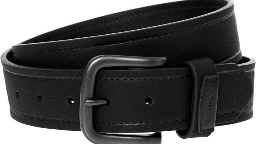 COLUMBIA Black Leather Lined Belt