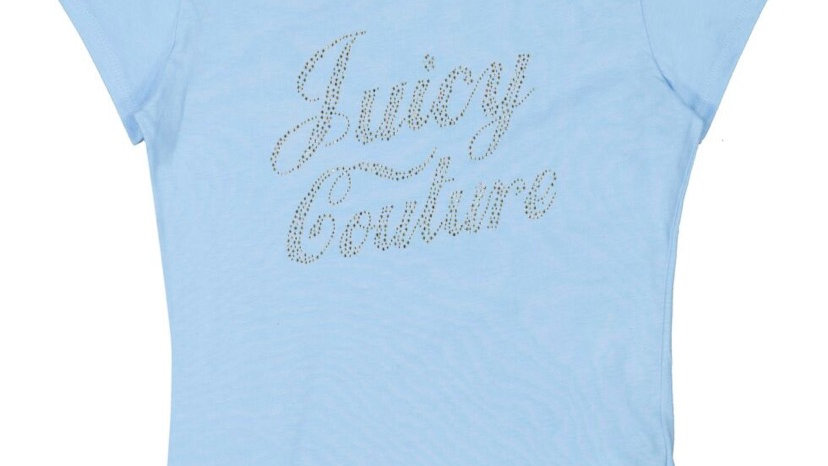 JUICY COUTURE Sky Blue Jeweled Logo T Shirt