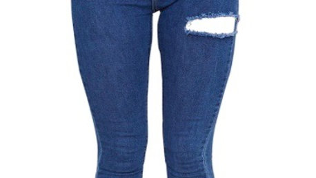 Denim Hem 5 Pocket Skinny Jean (Mid Blue)