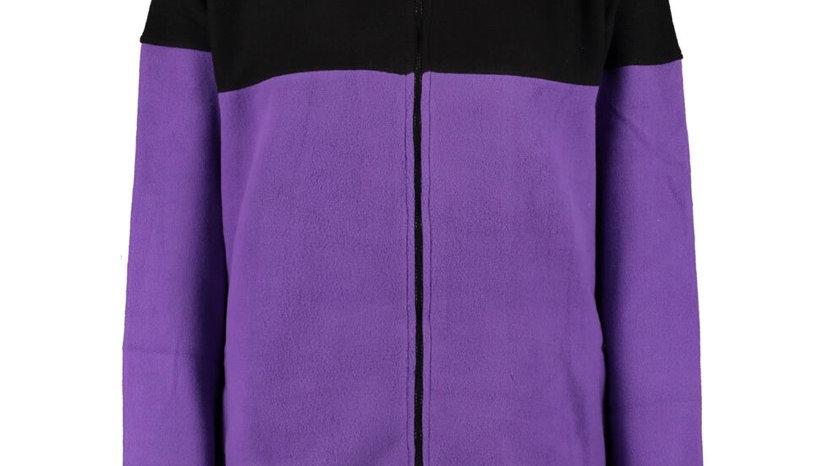 URBAN CLASSICS Purple & Black Fleece Zipped Jacket