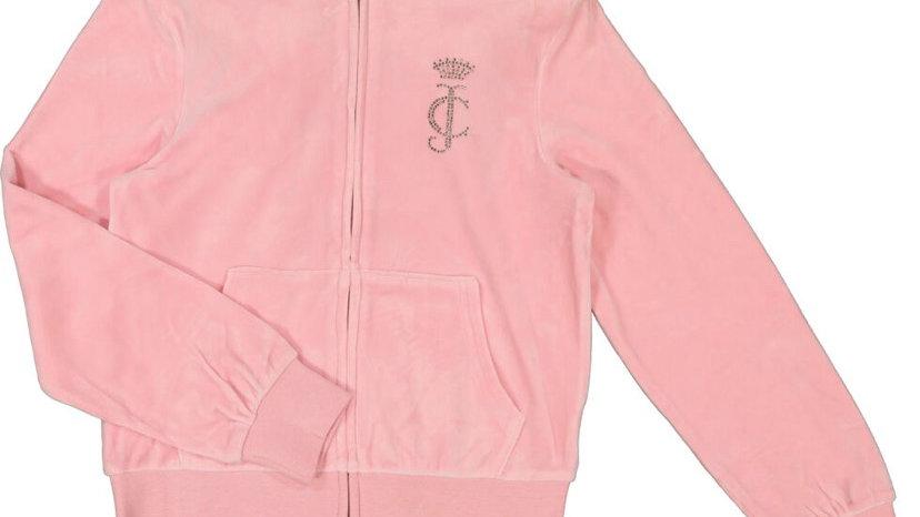 JUICY COUTURE Rose Pink Velour Zip Up Hoodie