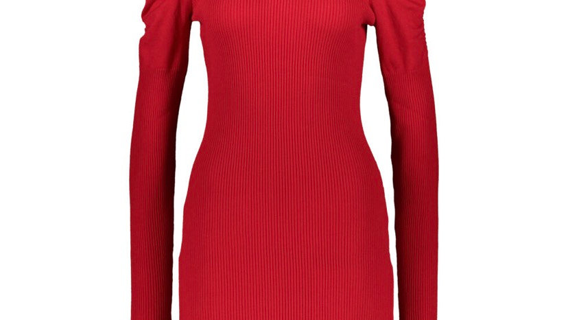 LOVE ALWAYS Red Rib Ruched Sleeve Dress