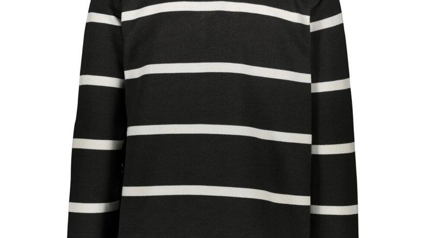 CREW CLOTHING CO. Grey & White Striped Zip Neck Sweatshirt