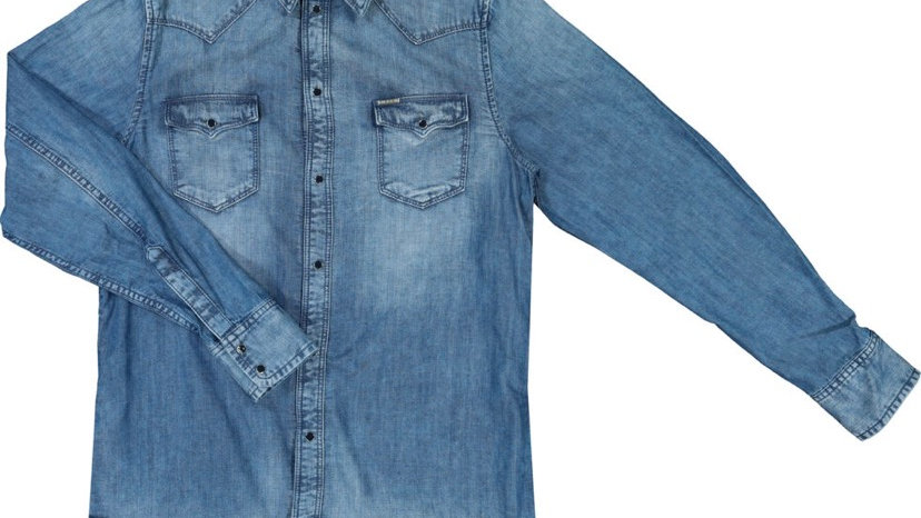 DIESEL Blue Washed Denim Shirt