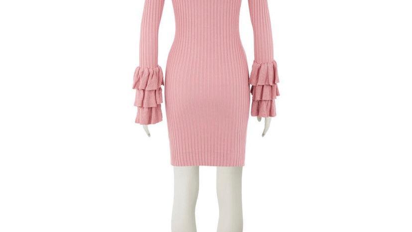 BY CLARA Pink Ruffle Cuff Dress