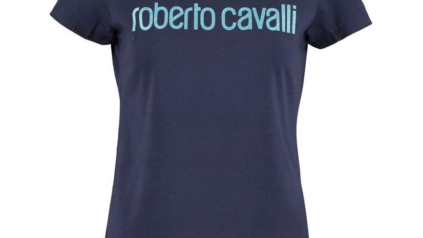 ROBERTO CAVALLI Navy Glittery Logo Print T Shirt
