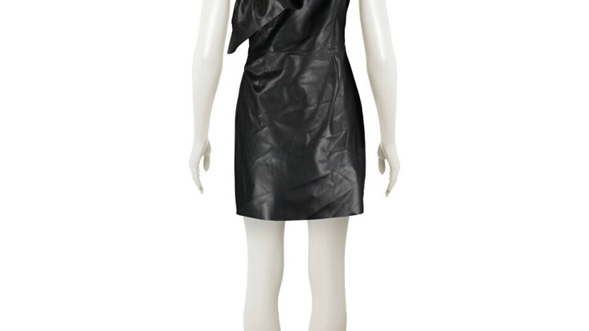 BB DAKOTA Black Raised Shoulder Leather Mini Dress