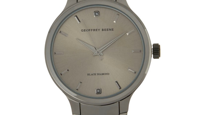 GEOFFREY BEENE Gunmetal Grey Black Diamond Face Watch