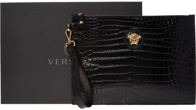 VERSACE Black Croc Pattern Pouch Bag
