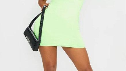 Slinky Zip Detail Short Sleeve Bodycon Dress