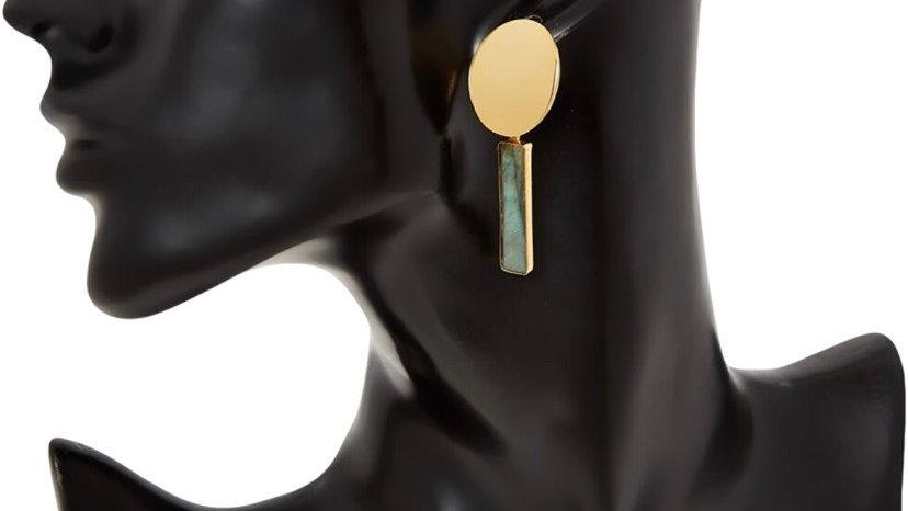 LUNA NORTE Gold Tone Labradorite Drop Earrings