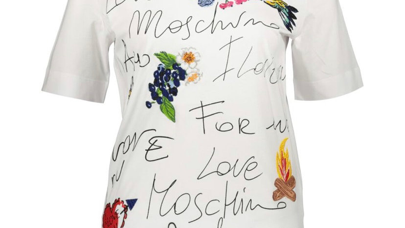 LOVE MOSCHINO White Branded Emrbroidered Top