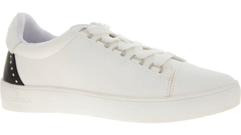 CARVELA Embellished Jacked Trainers (White & Black)