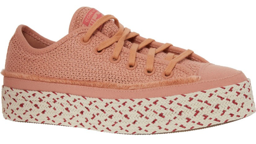 CONVERSE Pale Pink Woven Espadrille Trainers