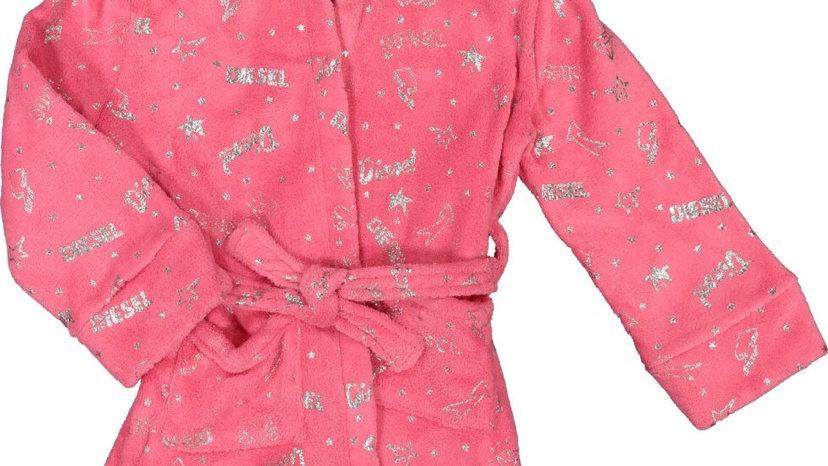 DIESEL Pink & Silver Tone Logo Robe