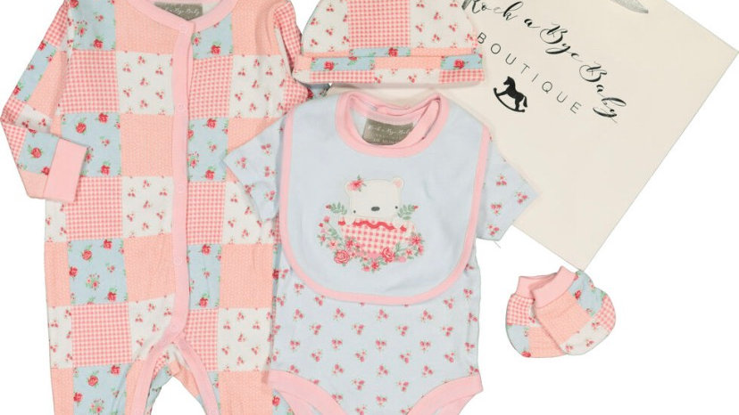 ROCK A BYE BABY Pink & Blue Baby 5 Piece Set