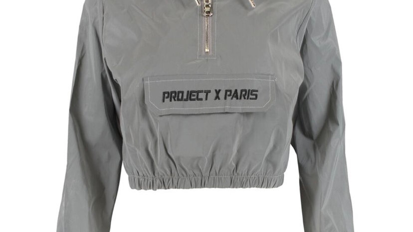 PROJECT X PARIS Grey Cropped Water Resistant Hoodie