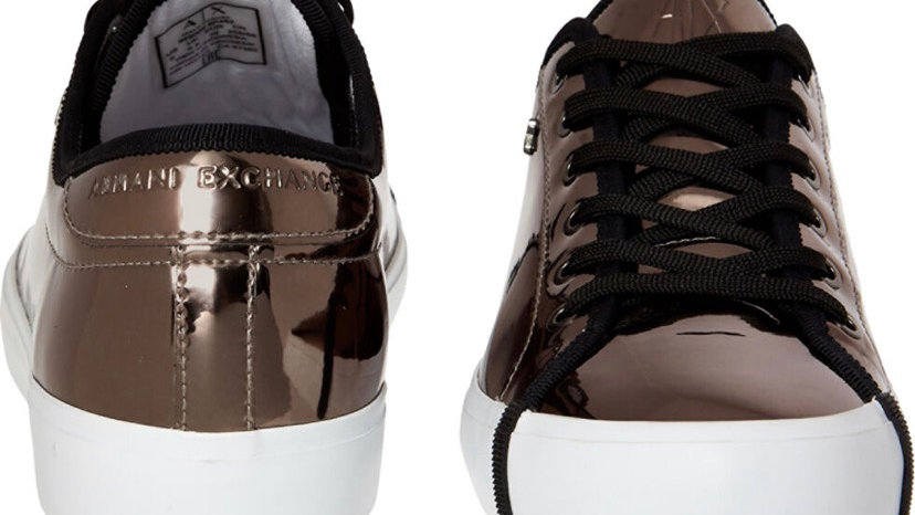 ARMANI EXCHANGE Silver Low Cut Trainers
