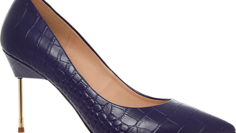 KURT GEIGER Purple Leather Reptile Effect Heels