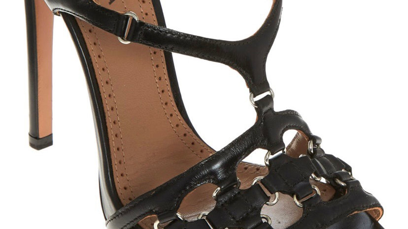 ALAIA Black Leather Chain Heels