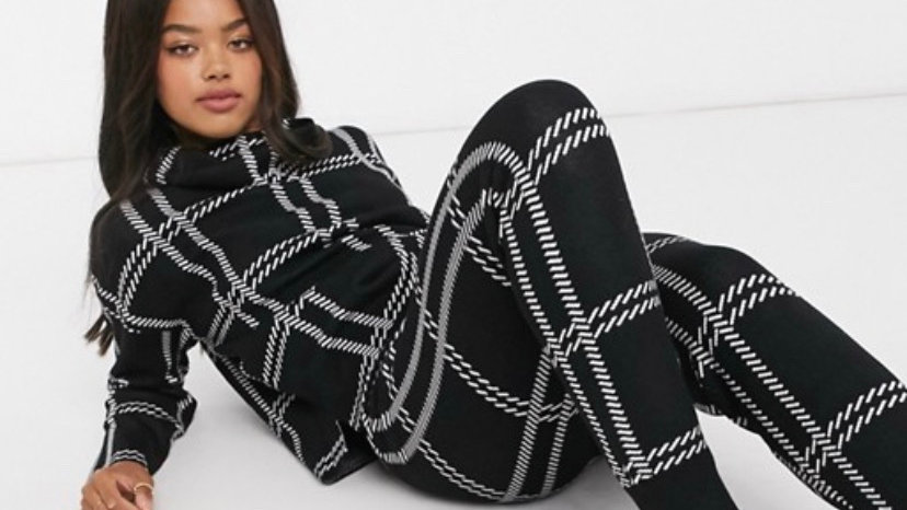 QED London roll neck jumper and jogger set in monochrome check